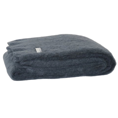 Mohair Throw Blanket - Charcoal
