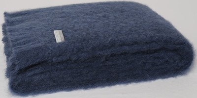 Mohair Throw Blanket - Indigo