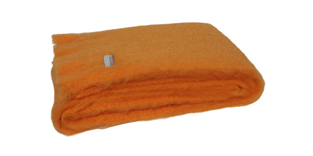Mohair Throw Blanket - Mango