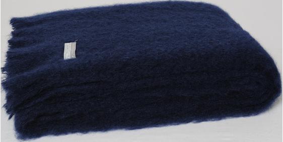 Mohair Throw Blanket - Navy