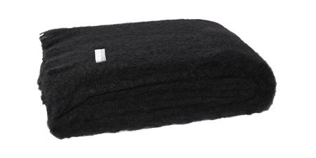 Mohair Throw Blanket - Raven