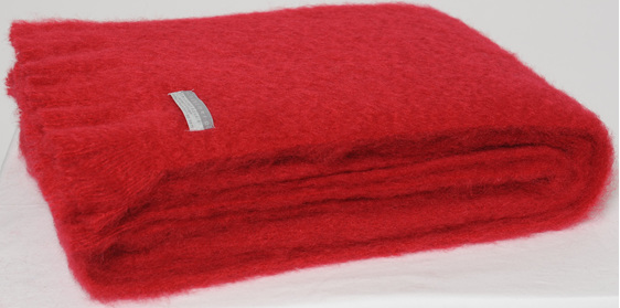 Mohair Throw Blanket - Ruby