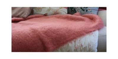 Mohair Throw Blanket - Tea Rose
