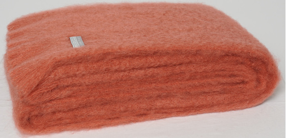 Mohair Throw Blanket - Tea Rose