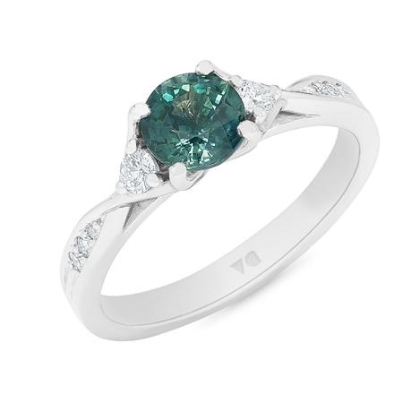 Mohaka: Teal Sapphire with Diamond Twist Shoulders