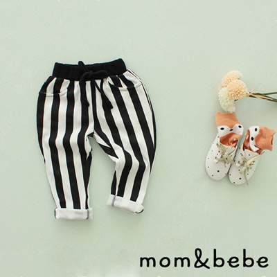 Mom & Bebe black and white stripped pants