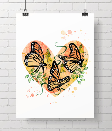 Monarch Love - on A3