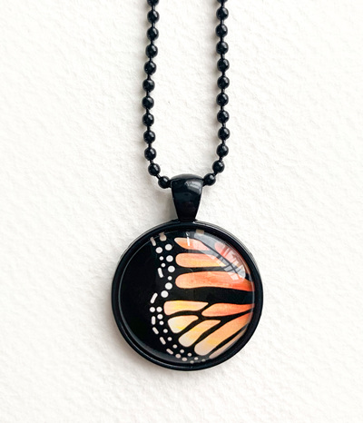 Monarch wing pendant necklace - black