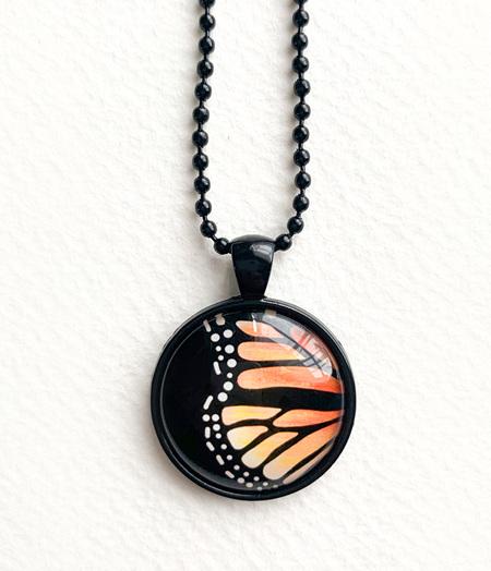 Monarch wing pendant necklace - black