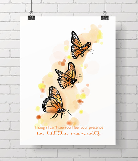 monarch with quote - on A3