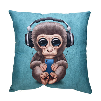 Monkey with Headphones Cushion Cover