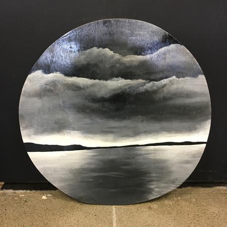 Moody - 51.5cm painting on wood