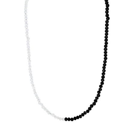 Moonstone and Black Spinel Two Tone Bead Necklace