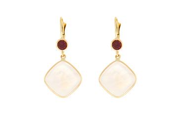 Moonstone and Garnet Earrings