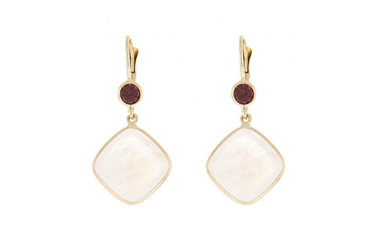 moonstone and garnet yellow gold earrings