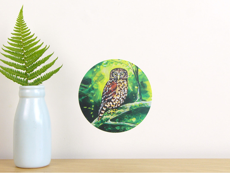 Morepork wall decal dot