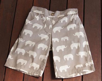 'Morgan' Flat Front Shorts, 'Ele Family, Shroom' GOTS Organic Cotton, 3 Years