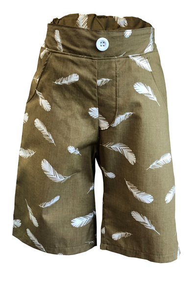 'Morgan' Flat Front Shorts, 'Feathers Olive' GOTS Organic Cotton, 2 years