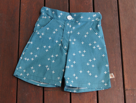'Morgan' Flat Front Shorts, 'Wink Teal' GOTS Organic Cotton, 1 year