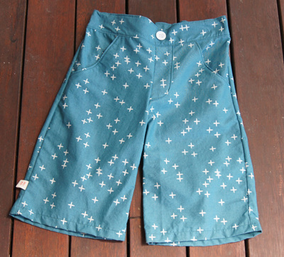 'Morgan' Flat Front Shorts, 'Wink Teal' GOTS Organic Cotton, 3 Years