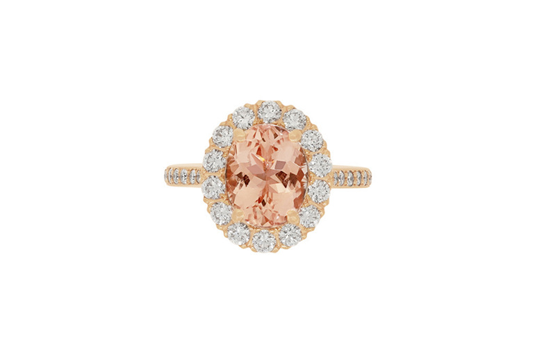 Morganite and Diamond Halo Ring in 18ct Rose Gold