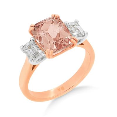 Morganite and Emerald Cut Diamond Ring