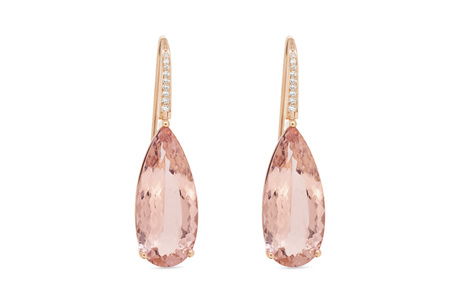 Morganite and Diamond Rose Gold Earrings