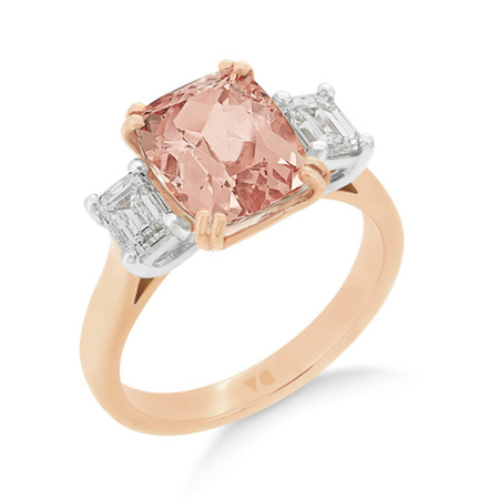 Morganite and Emerald Cut Diamond Ring