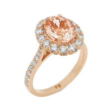 Morganite Diamond Halo Ring