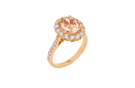Morganite Diamond Halo Ring