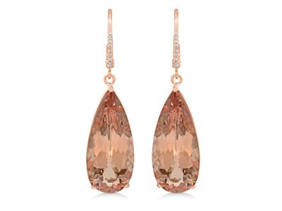 Pear Cut Morganite Diamond Earrings