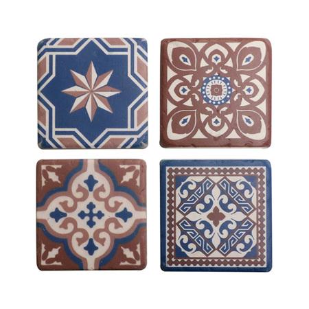 Morroccan Azure Blue Coasters set 4