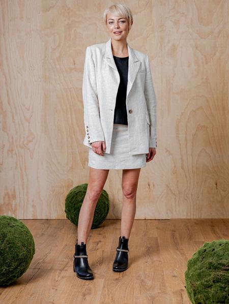 Moss Renard Linen Blazer - Nearly White
