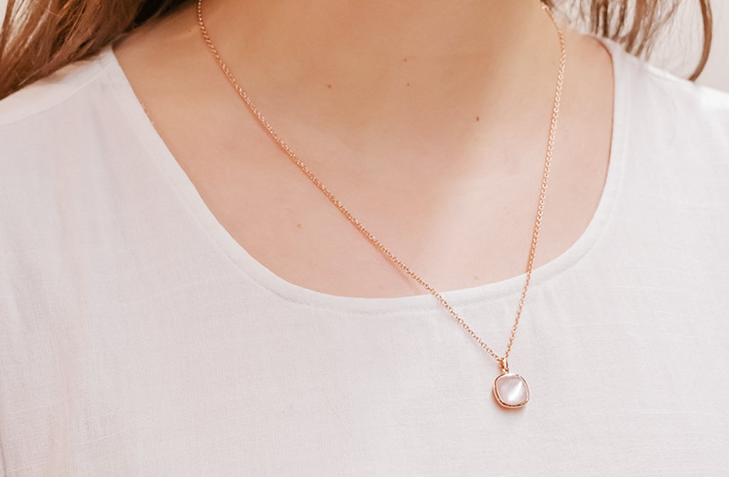 Mother Of Pearl Rose Gold Pendant The Village Goldsmith
