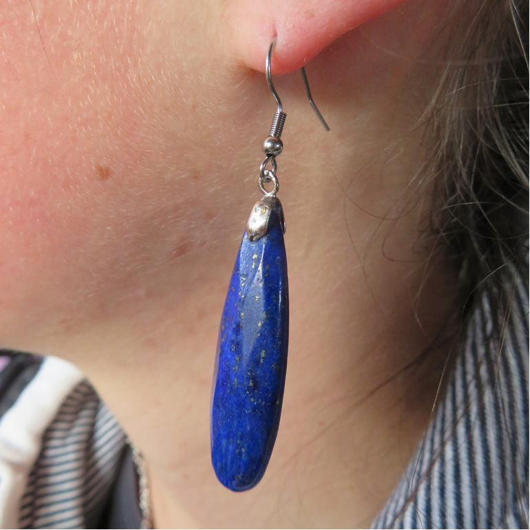 Mottled bright blue Lapis Lazuli long drop earrings