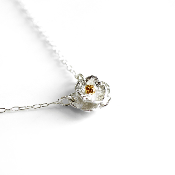mount cook lily flower sterling silver gold wedding summer necklace