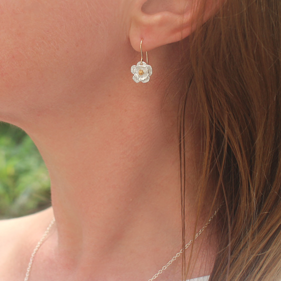 mount cook lily flower sterling silver gold wedding summer drop earrings