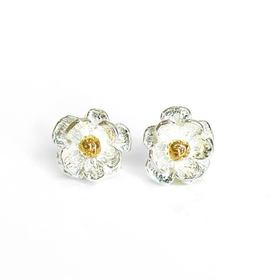 mount cook lily flower studs sterling silver gold wedding earrings classic