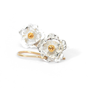 mount cook lily sterling silver gold flower dainty earrings wedding floral