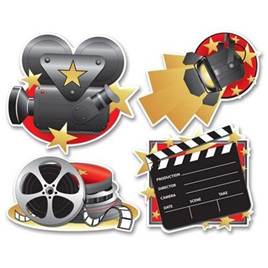 Movie Set Cutouts pack of 4