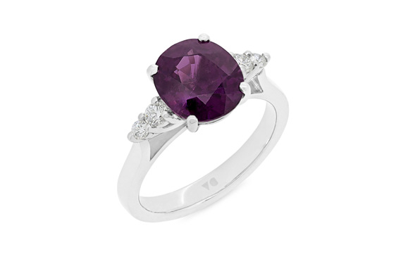Mozambique purple garnet and diamond dress ring