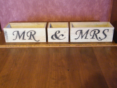 MR and MRS rustic boxes