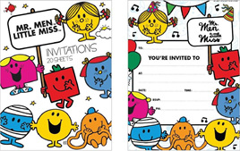 Mr Men  Invitation Pads x 20 sheets