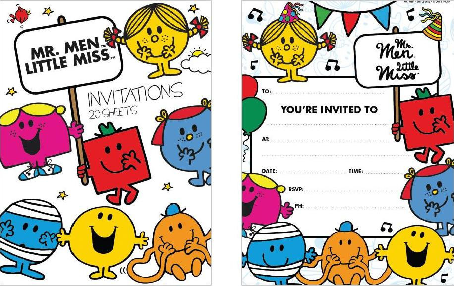 Mr Men Invitation Pads x 20 sheets - Kingfisher Gifts Party & Xmas