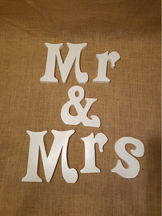 mr & mrs table sign wedding and event hire