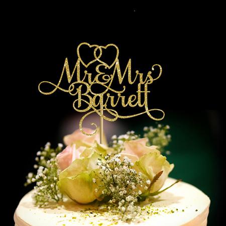 Mr & Mrs Wedding Personalised Cake Topper