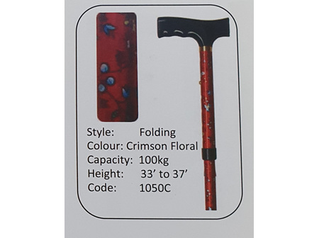 MS Crimson Floral Folding Walking Stick