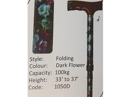 MS Folding Dark Flower Walking Stick