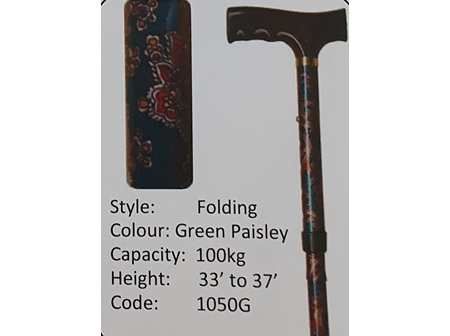 MS Folding Green Paisley Walking Stick