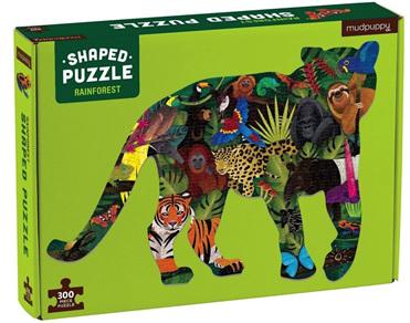 Mudpuppy 300 Piece Shaped Jigsaw Puzzle: Rainforest